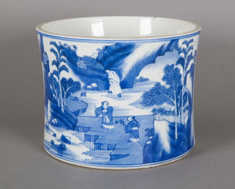 Chinese Blue & White Porcelain Bi Tong Brushpot
