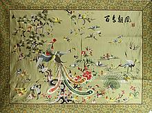 Chinese 100 Birds Patterned Embroidery on Silk