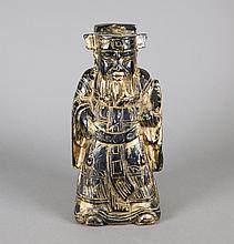 Chinese Wood Carved Fortune God Figure