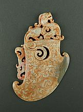 Chinese White Jade Plaque carved Group of Chilong