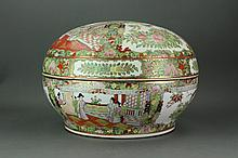 Chinese Canton Famille Rose Porcelain Box w Lid