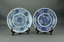 Pair of Chinese B&W Porcelain Ming Style Dishes