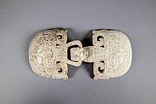 Chinese Archaistic White Jade Dragon Belt Buckle