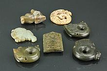 7 Pcs Chinese Jade Carved Pendant