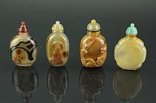 4 Pieces Chinese Agate Snuff Bottles