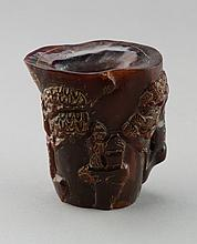 Chinese Horn Cup Carved Figures & Landscape