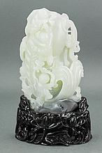 Chinese Fine Two Color White Jade Carving w Stand