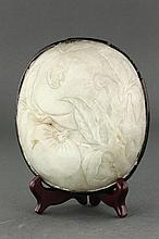 Chinese Old White Jade Carved Peaches Ruyi Inset