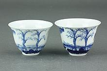 Pair of Chinese Blue & White Porcelain Cups