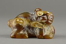 Chinese Old Yellow Jade Carved Lion Cub