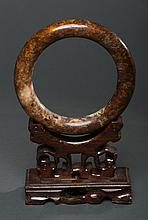 Large Chinese Natural Old Brown Jade carved Bangle