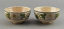 Pair of Chinese Flower Porcelain Wine Bowls