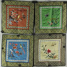 4 Pieces Chinese Small Embroidery on Silk