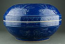 Large Chinese Blue Ground Dragon Bowl w Lid