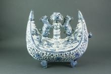 Chinese Blue & White Dragon Porcelain Flask Ewer