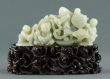 Chinese White Jade Boulder Carved Group of Boys