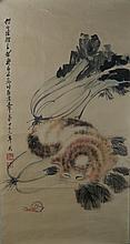 Cat on Cabbage Painting Signed Qi Baishi 1864-1957