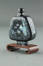Chinese Fine Lacquer Pearl Snuff Bottle 19th C.