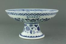 Chinese BW Dragon Stem Porcelain Plate Ming Mk