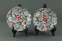 Pair Chinese Flower Saucers 19th C. Qianlong Mk