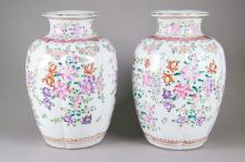 Pair 18th C. Qianlong Famille Rose Porcelain Vases