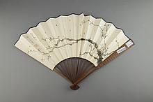 Chinese Fan Painting of Prunus Shang Xiao Yun