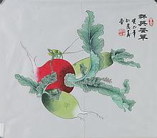 Chinese Radish Painting on Silk Kong Qing Xi