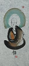 Chinese Watercolour Buddha Painting Sealed &Framed