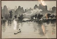 Chinese Village Painting Xu Beihong Certified