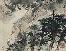 Chinese Sage Woods Painting Attributed Fu Baoshi