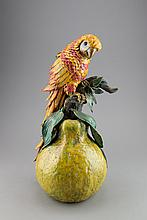 Fine Chinese Porcelain Parrot on Fruit Figure