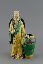 Chinese Sancai Pottery Old Man Figure