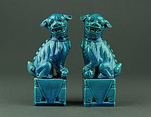Pair of Turquoise Chinese Porcelain Fu Dog Statues