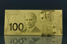 24K Gold Foil Canadian One Hundred Dollar Bill