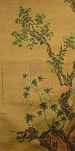 Chinese WC Painting of Peonies Wang Su 1794-1877