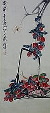 Chinese WC Insect & Leaf Qi Baishi 1864-1957