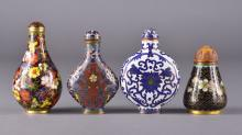 Set of Four Chinese Bronze Cloisonne Snuff Bottles