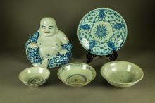 5 Pcs Chinese Blue & White Porcelain Qing Period