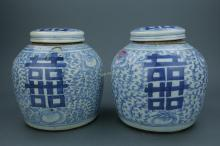 Pair of Chinese BW Porcelain Ginger Jars w/ Lid
