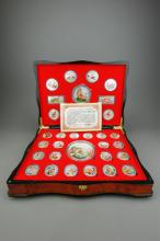 Chinese Tiger Silvered Coin Collections w/ Case &