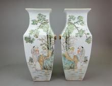 Pair of Chinese Square Porcelain Vases
