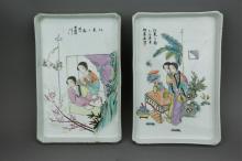 Pair Porcelain Famille Rose Plates Zhushan Artist
