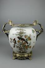 Chinese Export Vase w/ Bronze Stand & Handle