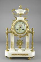 French White Marble Gilt Bronze Portico Clock 1870