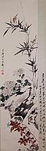 WC Bird & Flower Scroll Wang Xuetao 1903-1982