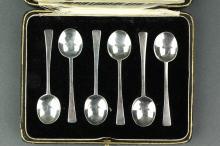 6 Pc British Fine Silver Spoon Set