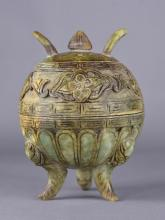 Chinese Spinach Green Jade Carved Censer with Lid