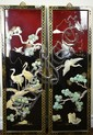 Pair Chinese Hardstone & Mother of Pearl Screens