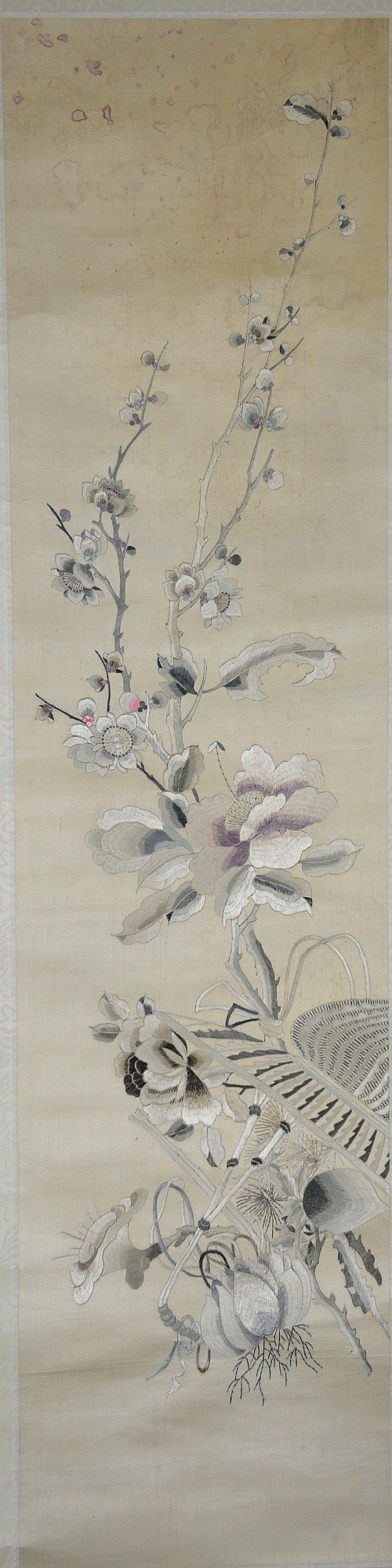 Antique Chinese Silk Embroidery of Flowers