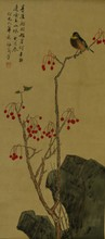 Chinese Painting of Songbird Signed Mei Lan Fong